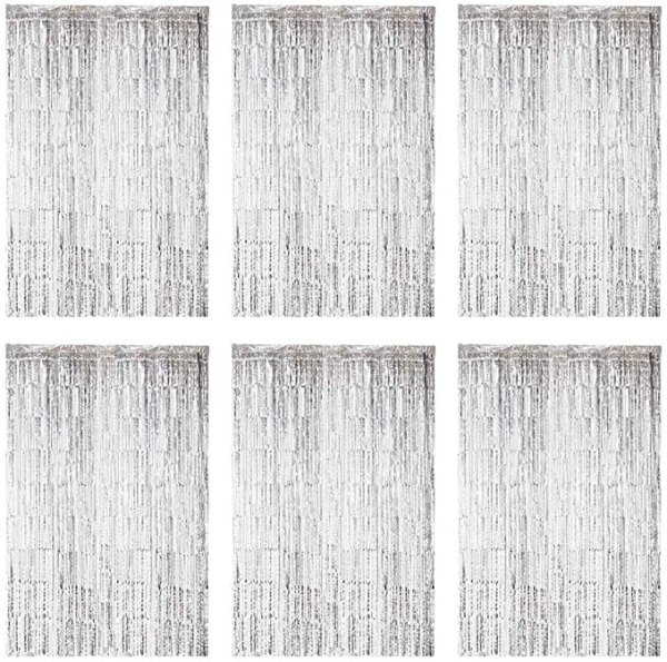 6 pieces tinsel curtains decoration rose gold silver Silver 1