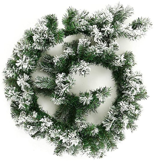 6ft Green Christmas Garland with Snow Decorated 1