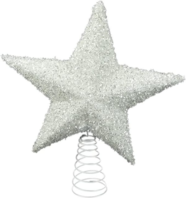 26cm Sparkly White Tree Top Star - Christmas Decorations 1