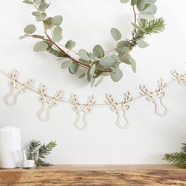 Wooden Festive Stag Head Bunting Garland Decoration 1