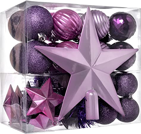 42pcs Shatterproof Baubles with Tree Topper and Garland 1