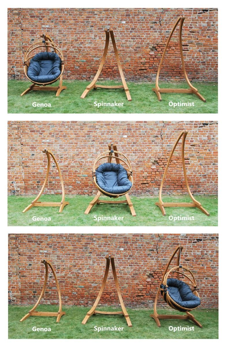 C Shaped Wooden Hanging Chair Stands In 3 Different Sizes