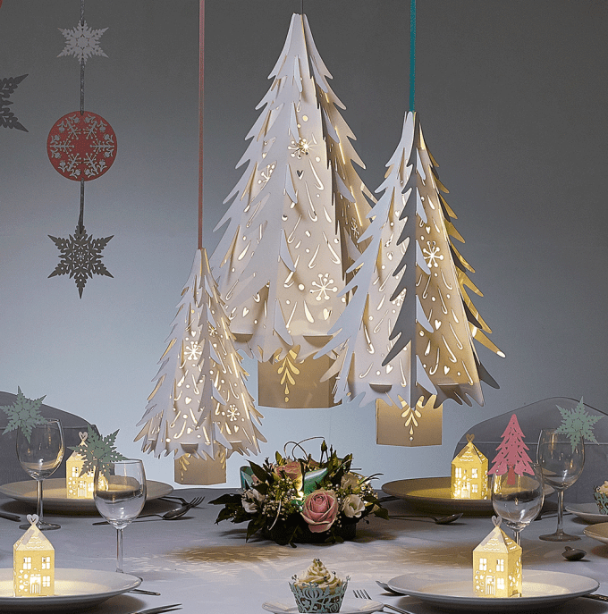 small paper christmas tree decorations in white - Decorating A Small White Christmas Tree