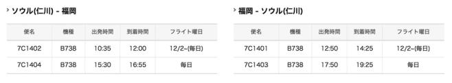 12月11日から福岡-ソウル間