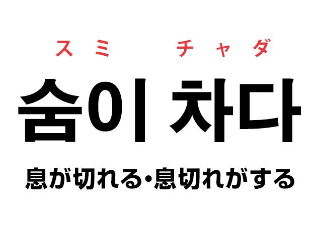 韓国語の「숨이 차다 スミ チャダ(息が切れる・息切れがする)」を覚える!