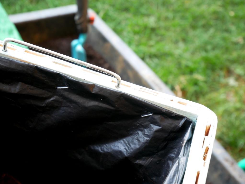 Plastik an der Innenseite befestigen und Kiste mit Erde befüllen