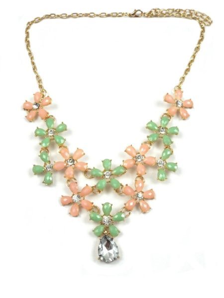 2 ASSORTED 2 TONE DAISY COLLAGE NECKLACE