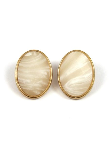 3 ASSORTED AGATE STONE EARRINGS - NATURAL