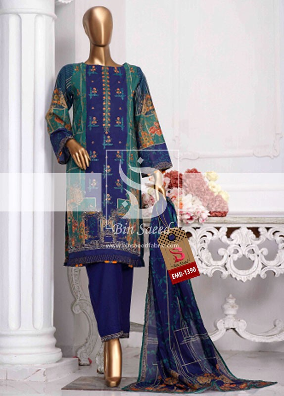 Summer Embroidered Lawn Collection Vol-1 EMB-1390 2