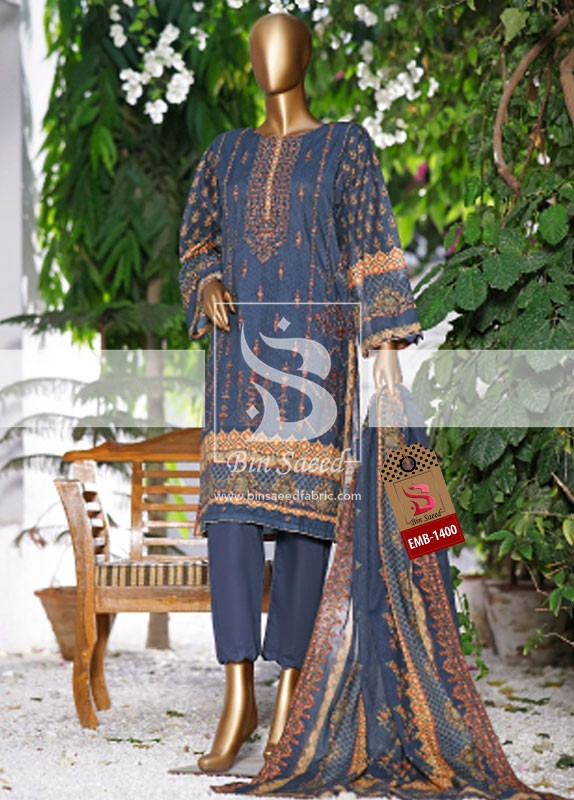 Summer Embroidered Lawn Collection Vol-1 EMB-1400 2