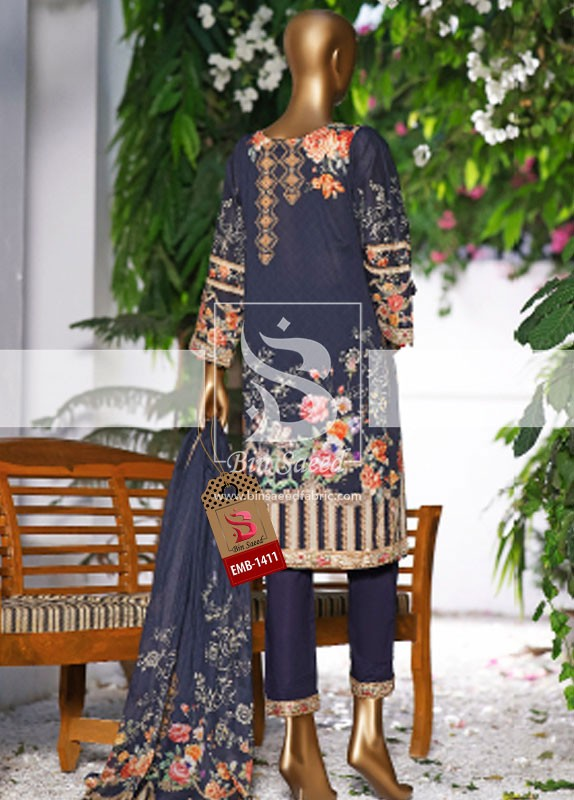 Summer Embroidered Lawn Collection Vol-1 EMB-1411 3
