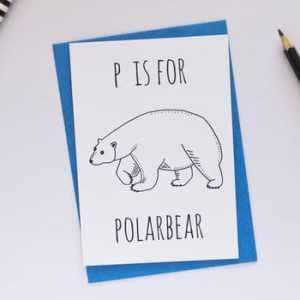 Polar Bear animal alphabet card by Darwin Deisgns