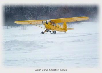 Piper J-3 Cub on Skis
