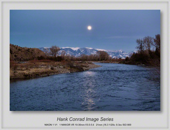 Moonrise over the Gallatin River