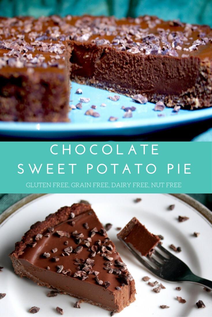 Chocolate Sweet Potato Pie with Brownie Crust. Gluten Free, Grain Free, Dairy Free, Nut Free, Paleo.