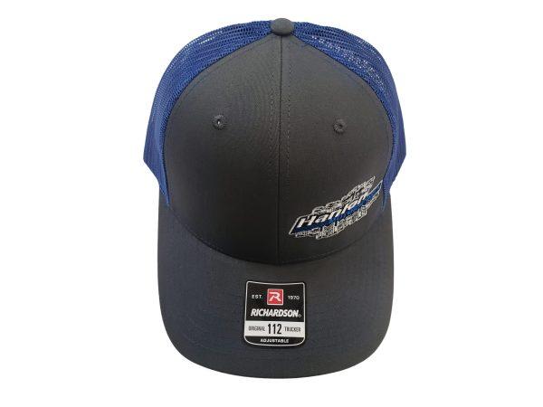 HMS hat, snapback, blue, grey, white, hanlon motorsports