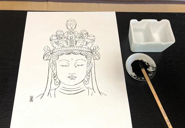 奈良ひとり旅・當麻寺の中之坊で写仏体験。描いた導き観音様