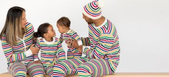 Matching Colorful stripes pajamas for the family