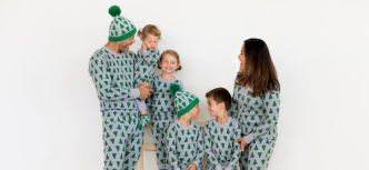 Matching Gray and green christmas trees pajamas for the family