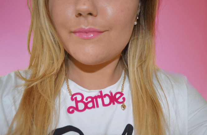 Hannah wearing Barbie necklace from Asos