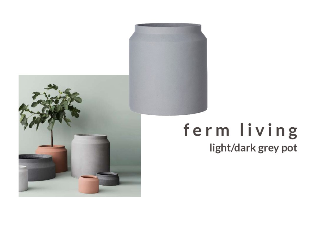 stylish plant pots - ferm living grey pot