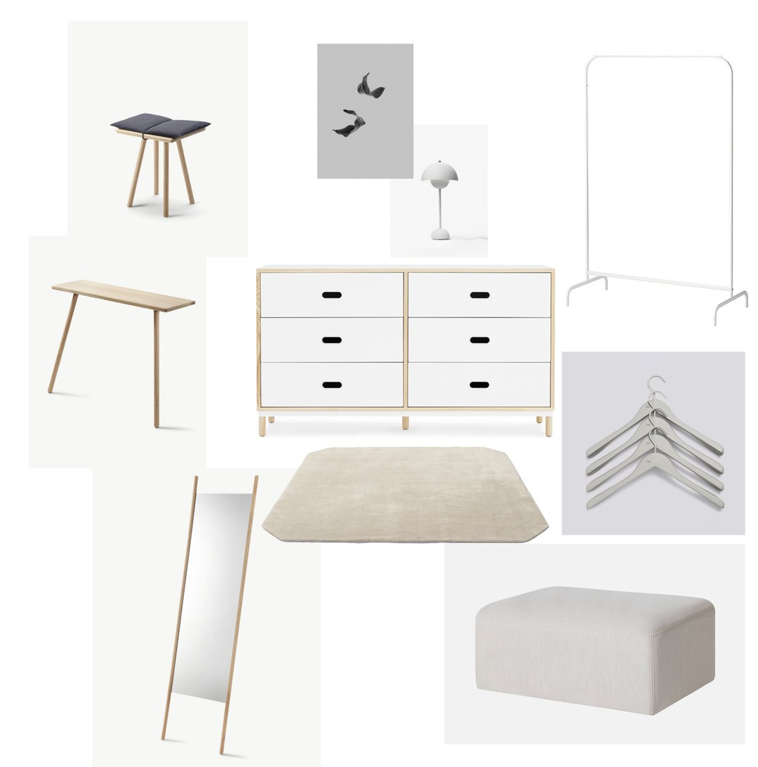 A minimalist dressing room, Copenhagen home