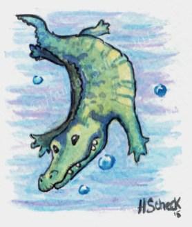 """Watercolor painting """"Ali Gator"""""""