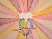 "Watercolor painting ""Lovebirds"""