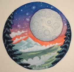 "Watercolor painting ""Moon Sky"""