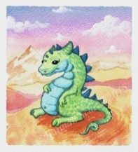 """Watercolor painting """"Pot Bellied Dragon"""""""