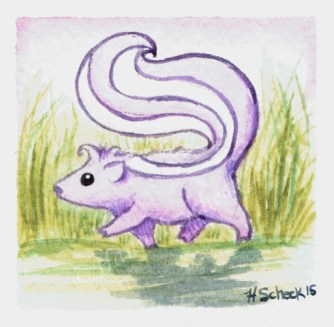 "Watercolor painting ""Trotter Skunk"""