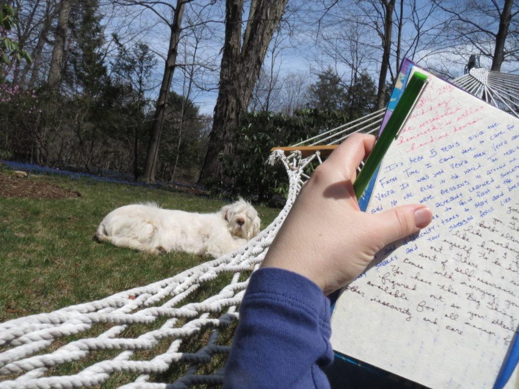 journaling in the hammock