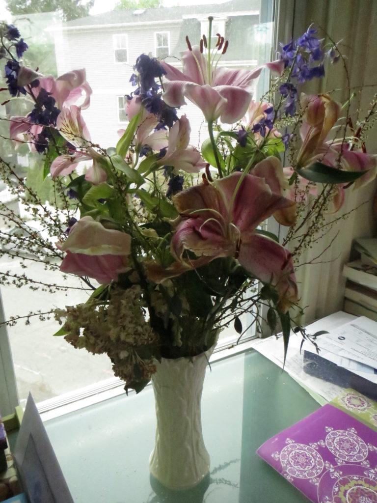 deteriorating flower arrangements
