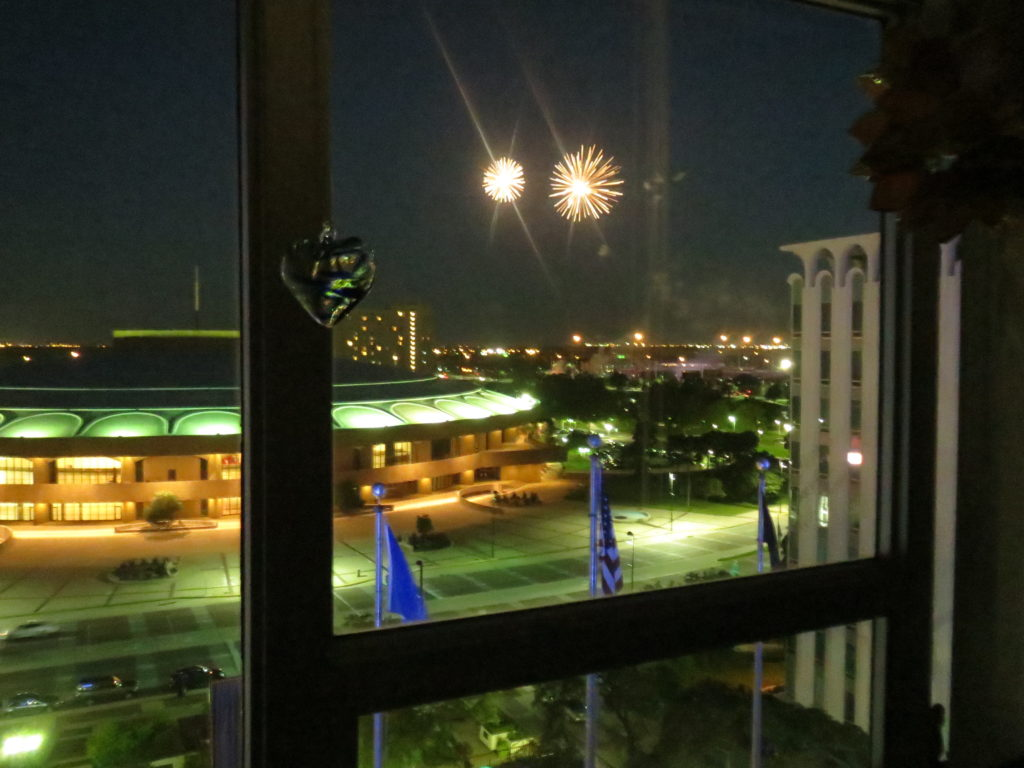 fireworks outside our bedroom window