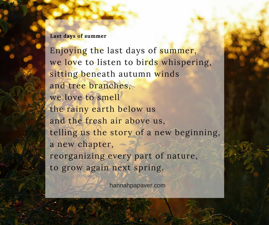 Last days of summer – a poem
