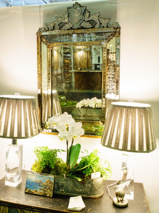 This Venetian glass mirror was SO pretty at Side Door Antiques. - Antiques And Garden Show Of Nashville Hannah's Hill