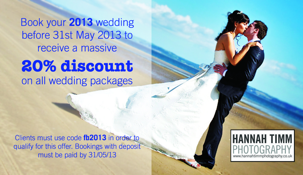 Massive 20% discount for weddings in 2013