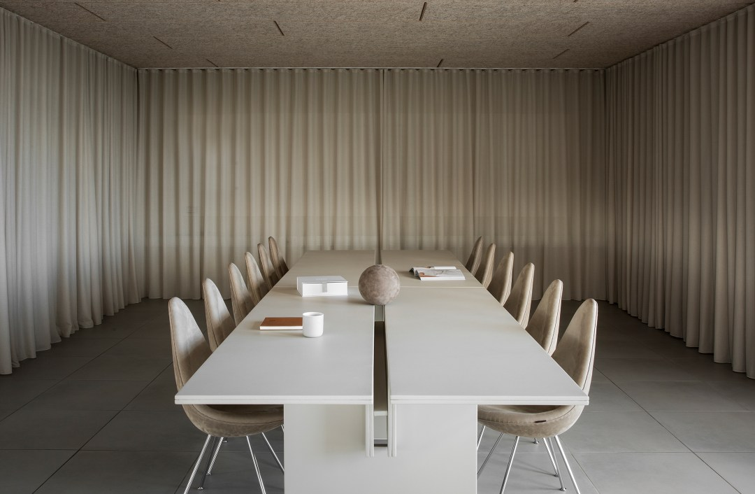 Soft minimalism interior at Sørensen Leather's new HQ in Aarhus