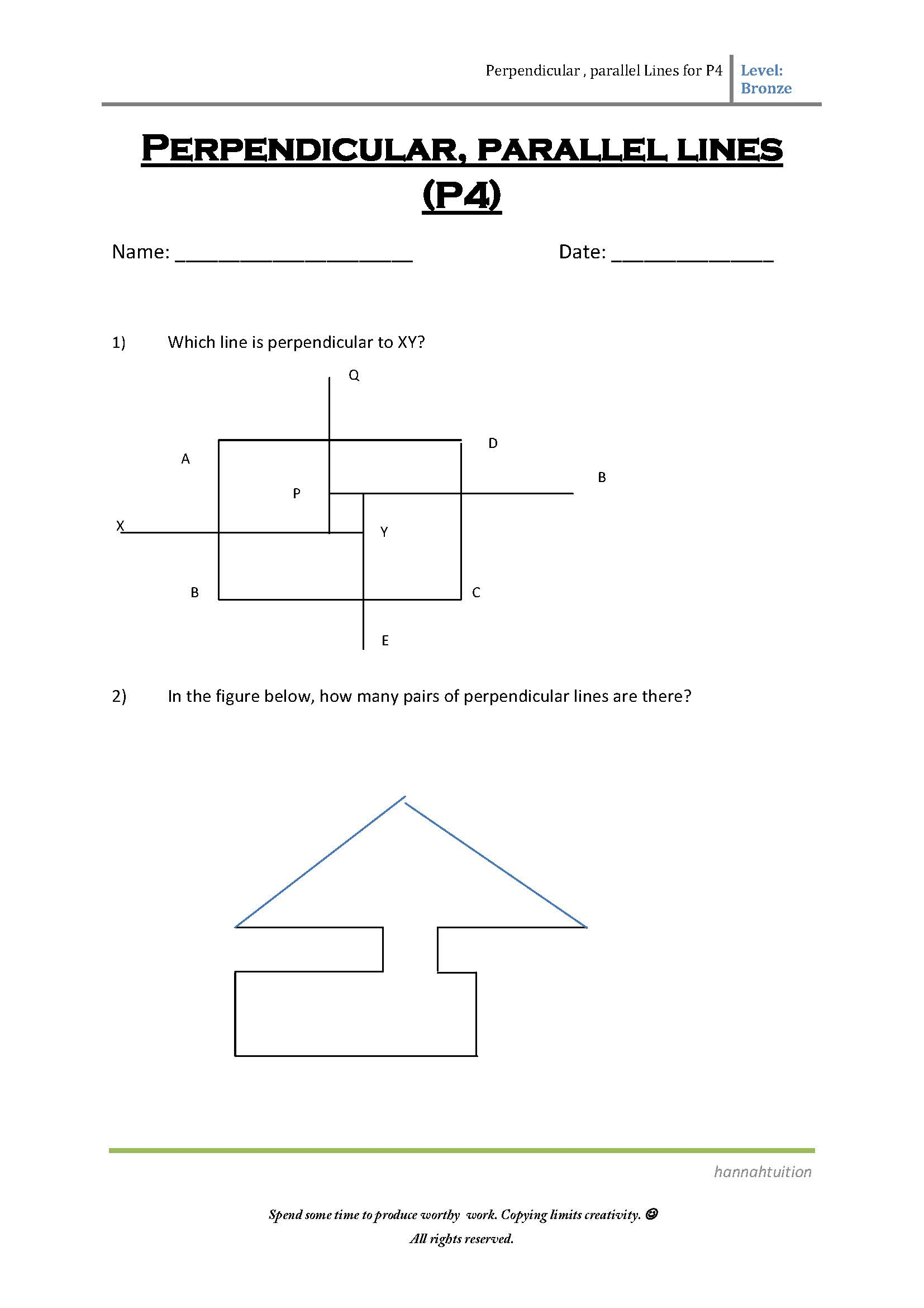 P4 Perpendicular And Parallel Lines Bronze Page 1 Hannahtuition