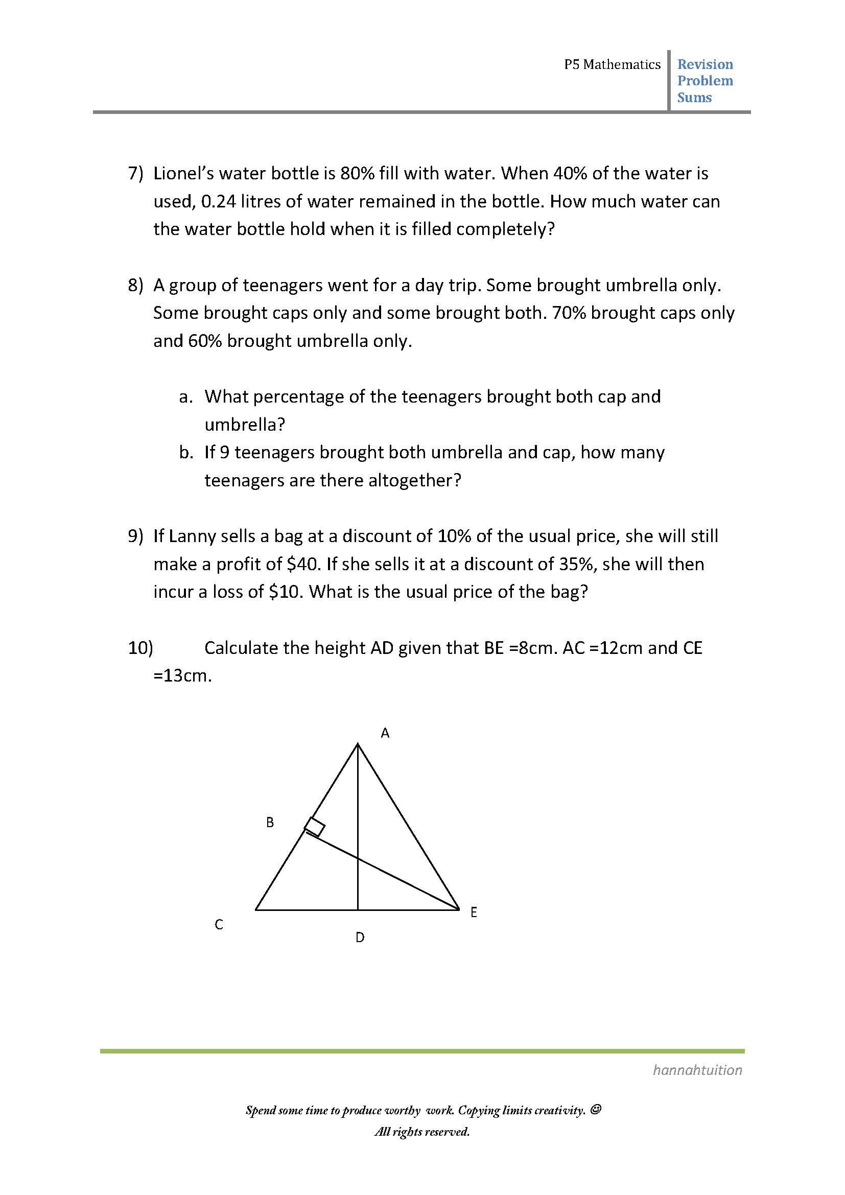 P5 Maths Revision Problem Sums
