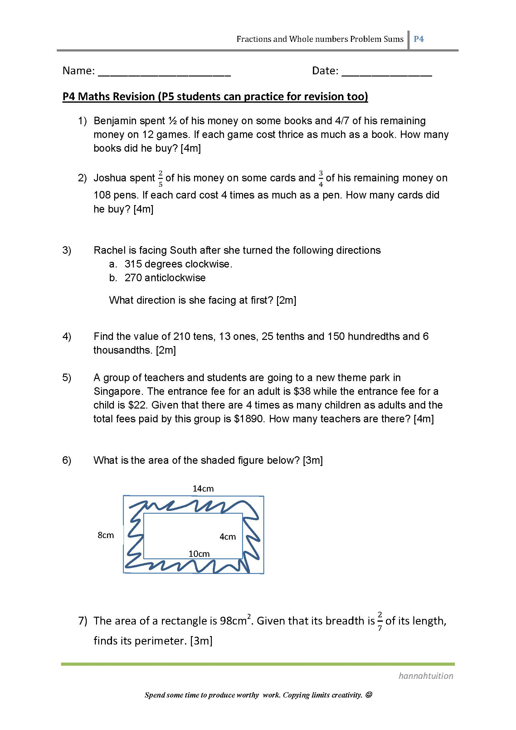 Maths Revision For My P4 And P5