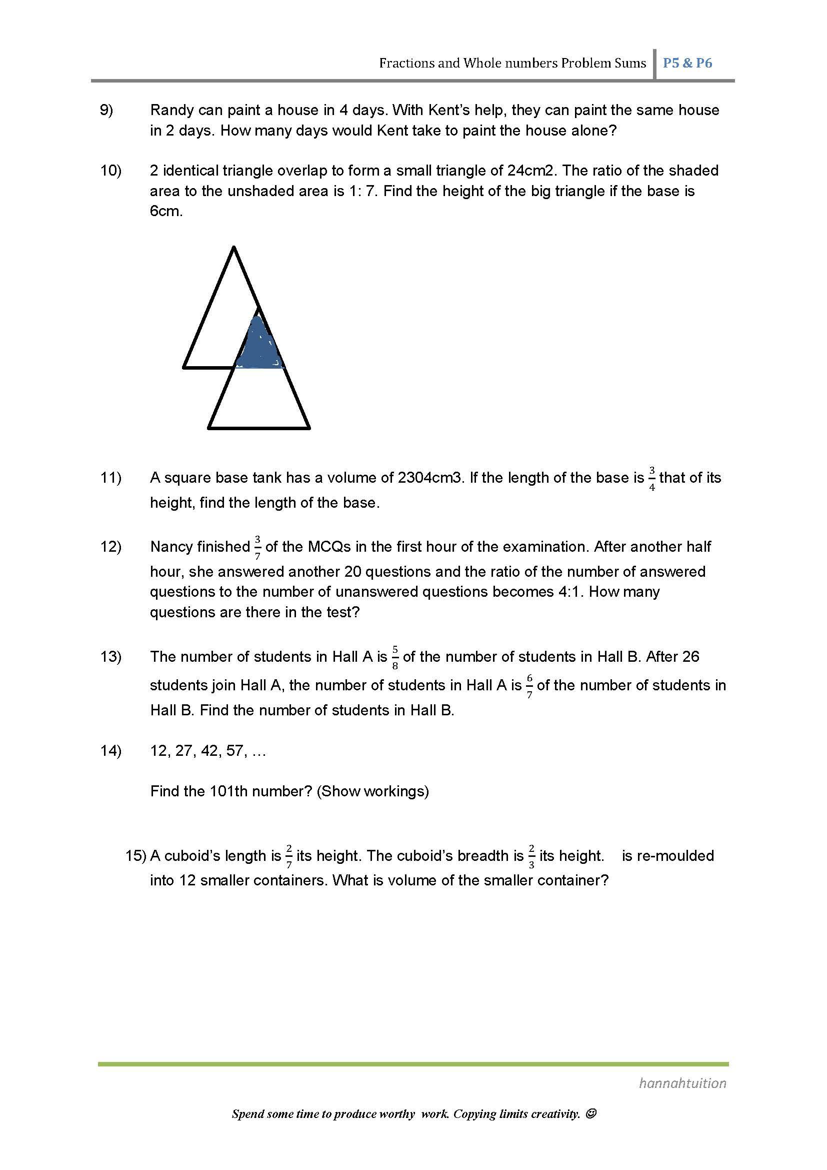 Psle Maths Preparatory Class