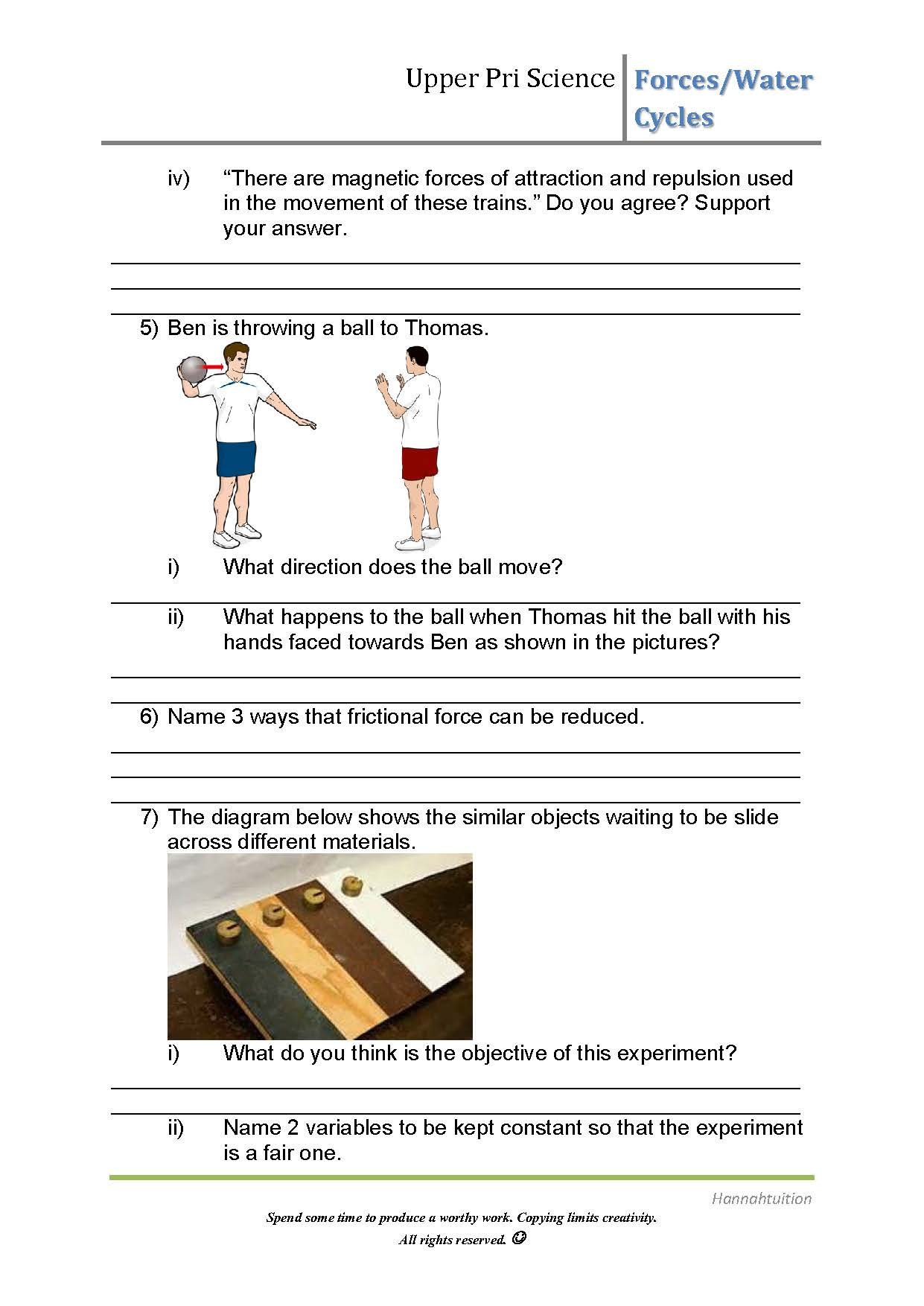 Worksheet Changing Water