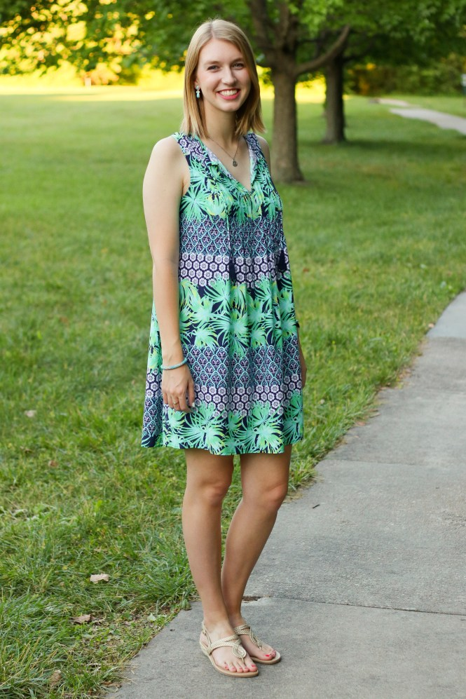 Green and Blue Palm Leaf Dress | Hannah With a Camera