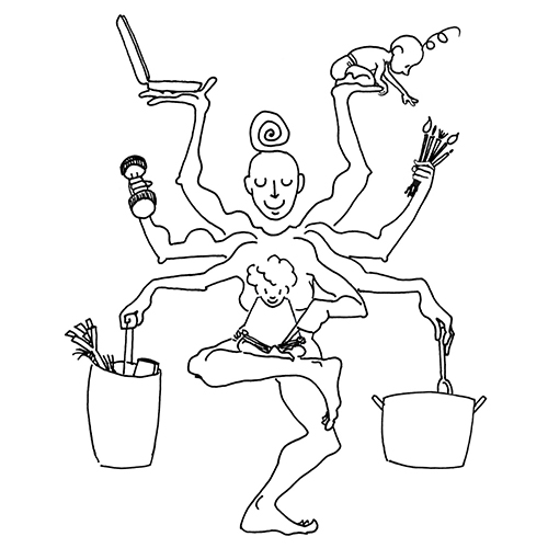 drawing of a mother as a shiva with 8 arms and two children