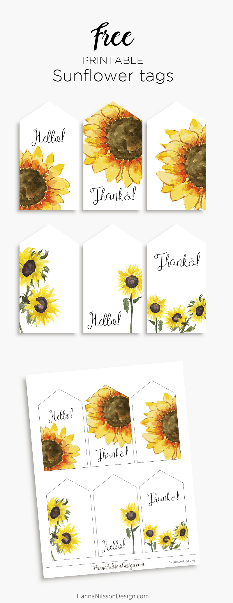 photo relating to Printable Sunflower referred to as Sunflower tags Late summer months present tags Hanna Nilsson Design and style