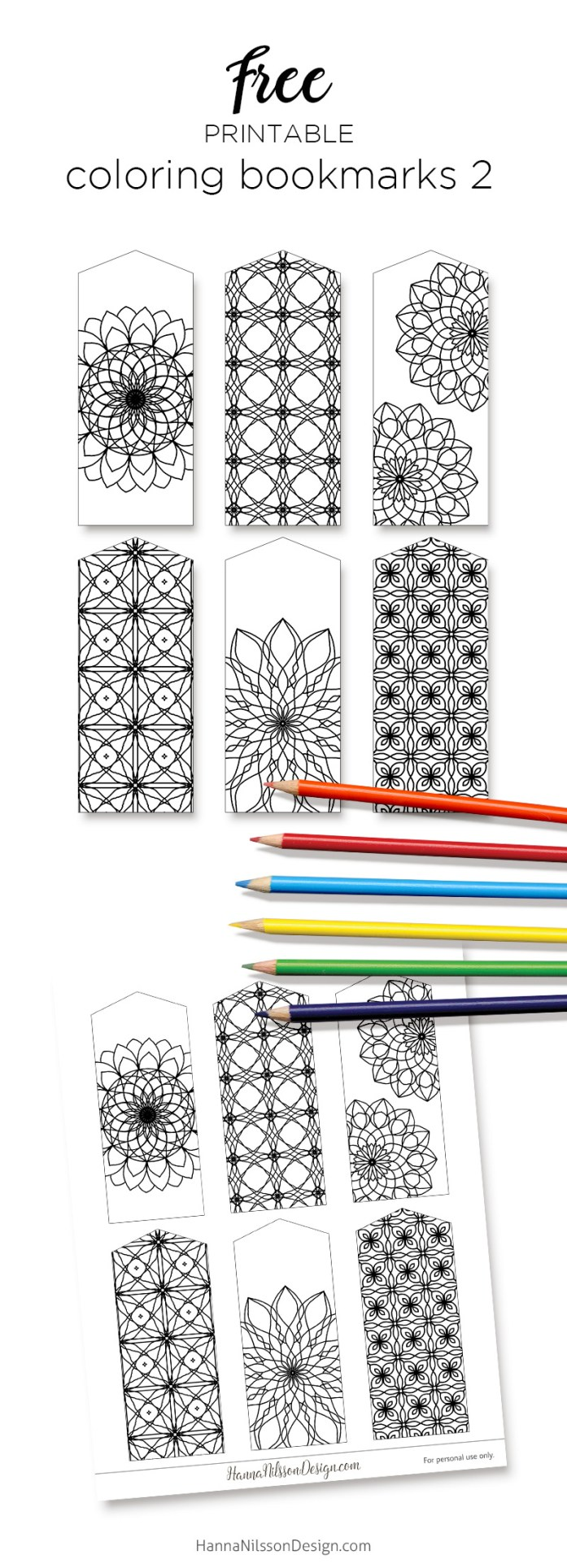 Coloring Bookmarks Print And Color Your Own Boomarks Hanna Nilsson Design