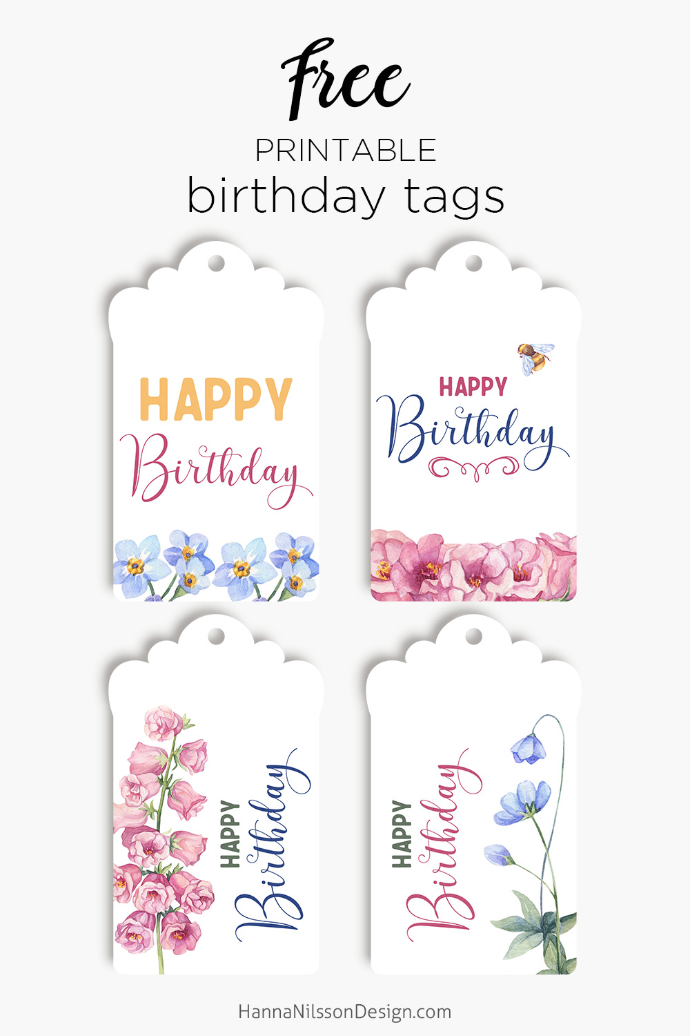 image relating to Printable Birthday Tags identified as Birthday tags playing cards Free of charge floral printables Hanna