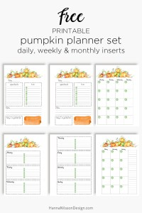 Free printable fall planner inserts with pretty pumpkins