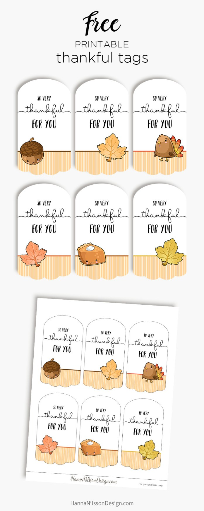 Thankful For You Tags Free Printable Tags For Thanksgiving Gifts Treats Or Decoration Hanna Nilsson Design